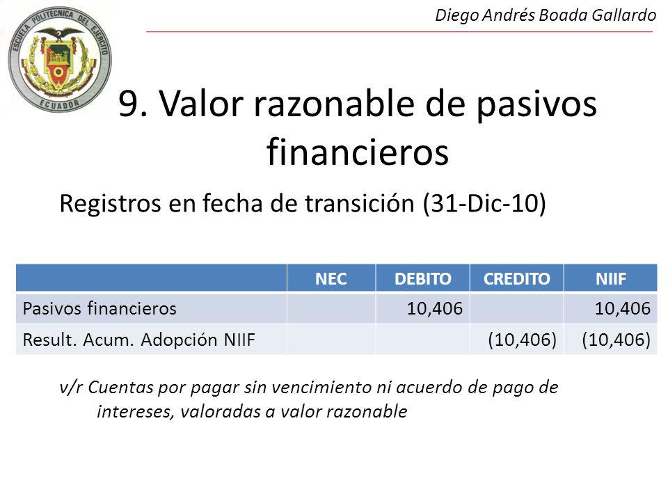9. Valor razonable de pasivos financieros Registros en fecha de transición (31-Dic-10) 9.Valor razonable de pasivos financieros v/r Cuentas por pagar