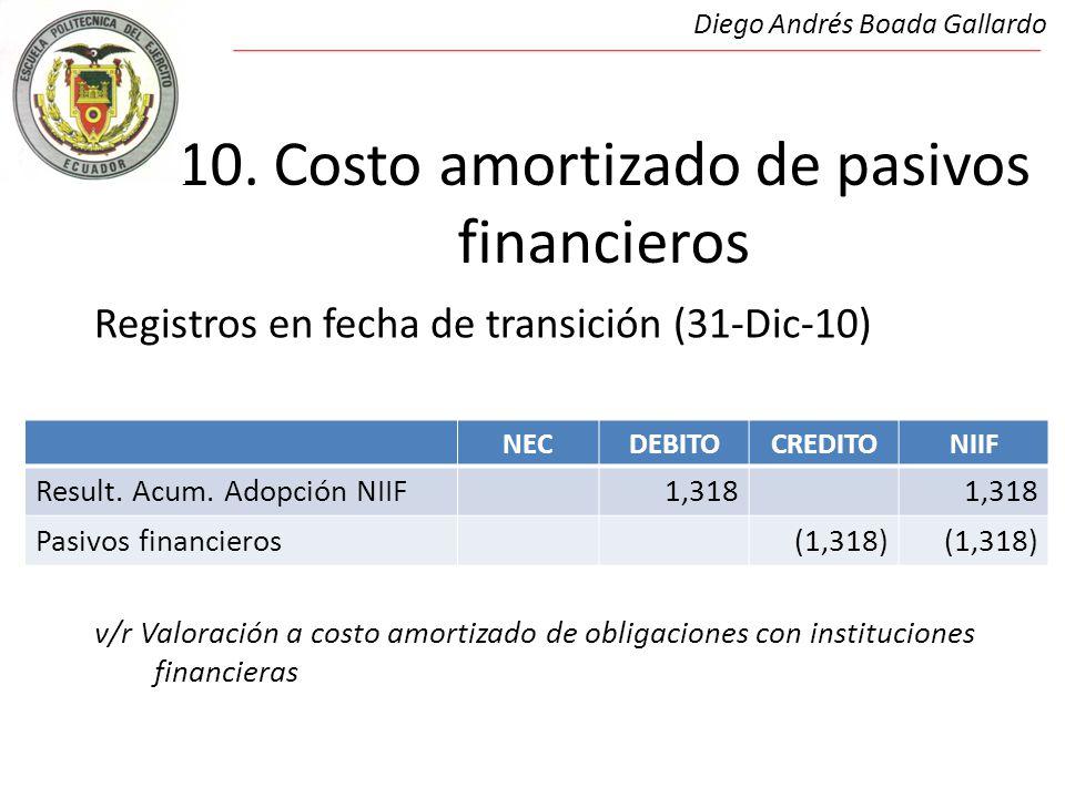 10. Costo amortizado de pasivos financieros Registros en fecha de transición (31-Dic-10) v/r Valoración a costo amortizado de obligaciones con institu