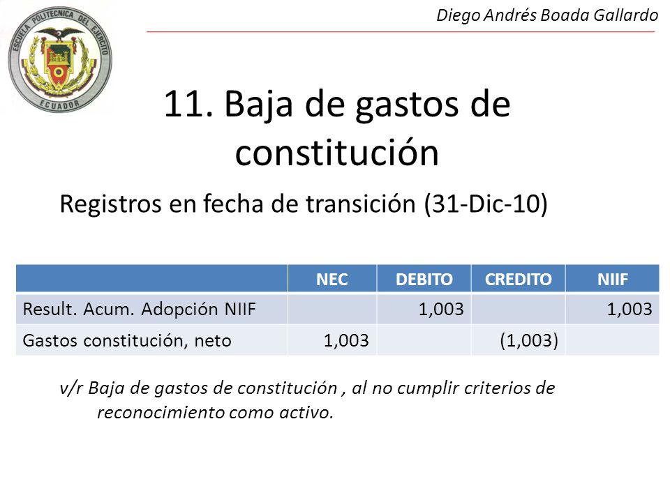 11. Baja de gastos de constitución Registros en fecha de transición (31-Dic-10) v/r Baja de gastos de constitución, al no cumplir criterios de reconoc