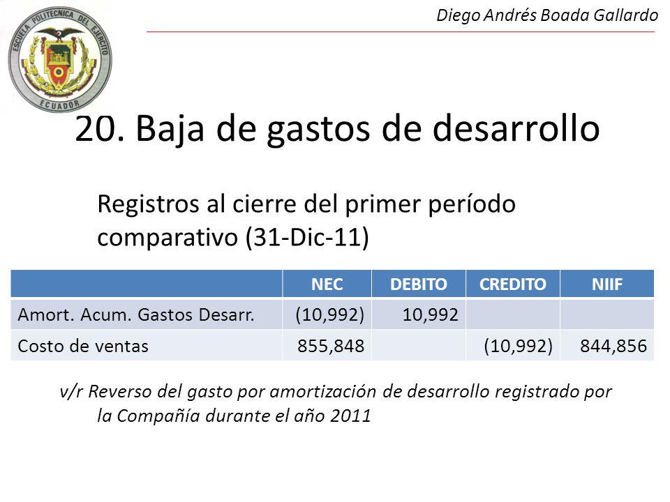 21.Baja de fondos de garantía Registros al cierre del primer período comparativo (31-Dic-11) 21.