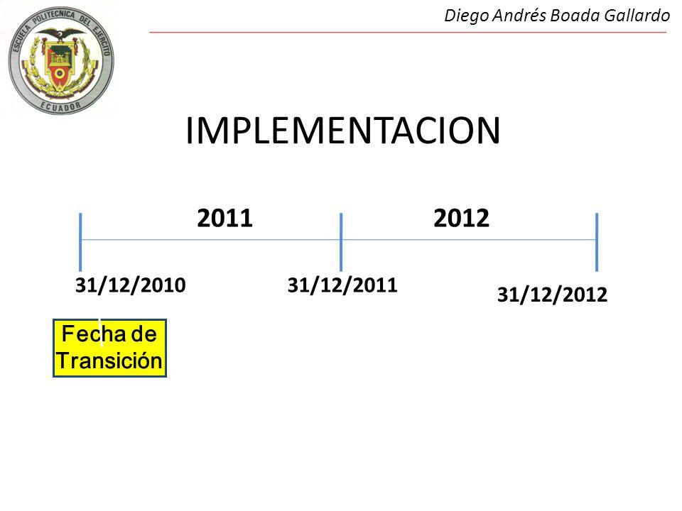IMPLEMENTACION Diego Andrés Boada Gallardo 31/12/201031/12/2011 20112012 Fecha de Transición 31/12/2012
