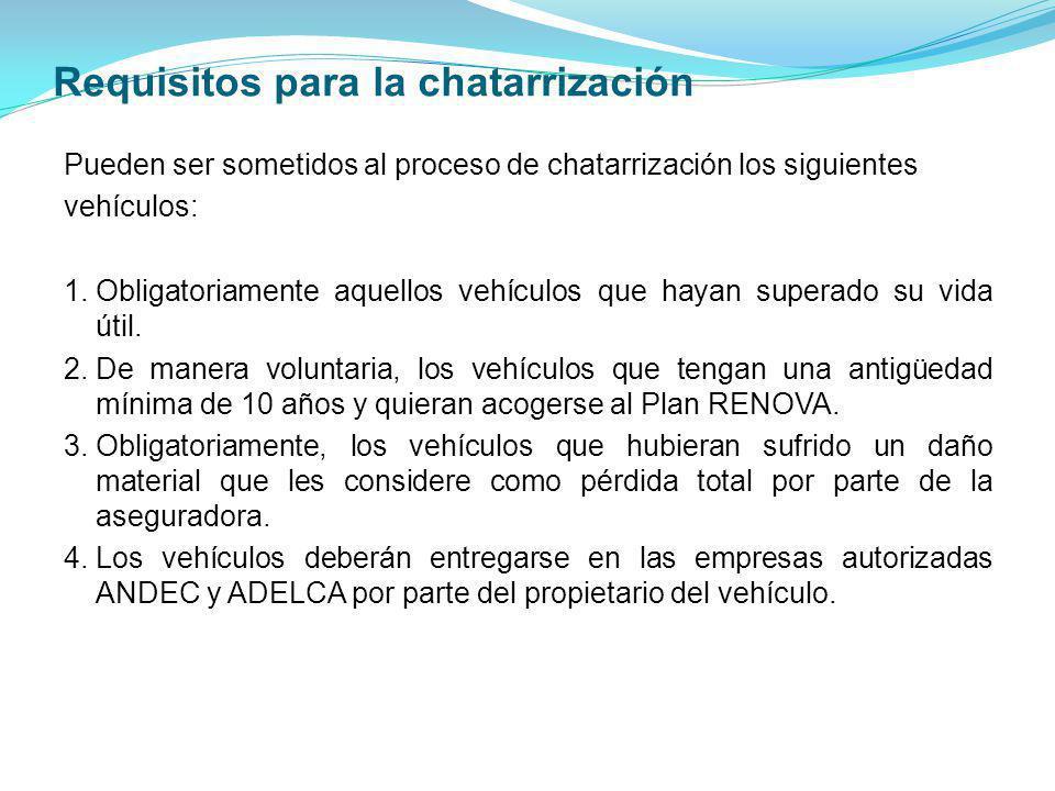 Requisitos para la chatarrización Pueden ser sometidos al proceso de chatarrización los siguientes vehículos: 1.Obligatoriamente aquellos vehículos qu