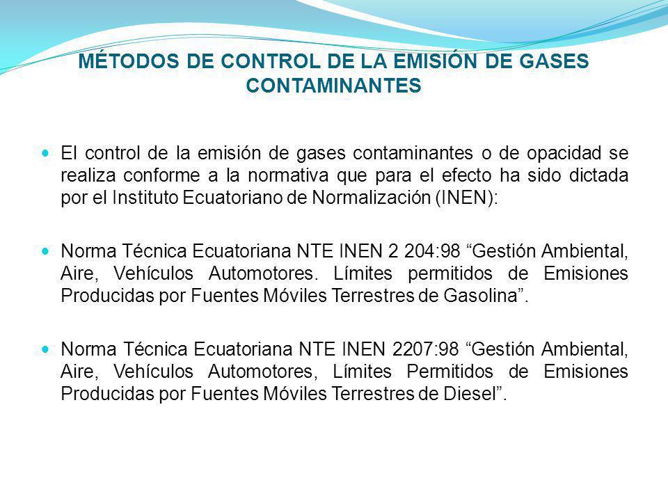 MÉTODOS DE CONTROL DE LA EMISIÓN DE GASES CONTAMINANTES El control de la emisión de gases contaminantes o de opacidad se realiza conforme a la normati
