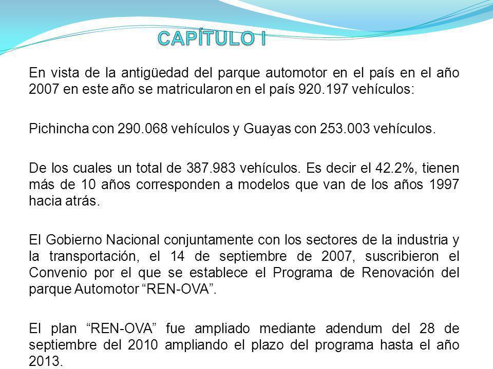 En vista de la antigüedad del parque automotor en el país en el año 2007 en este año se matricularon en el país 920.197 vehículos: Pichincha con 290.0