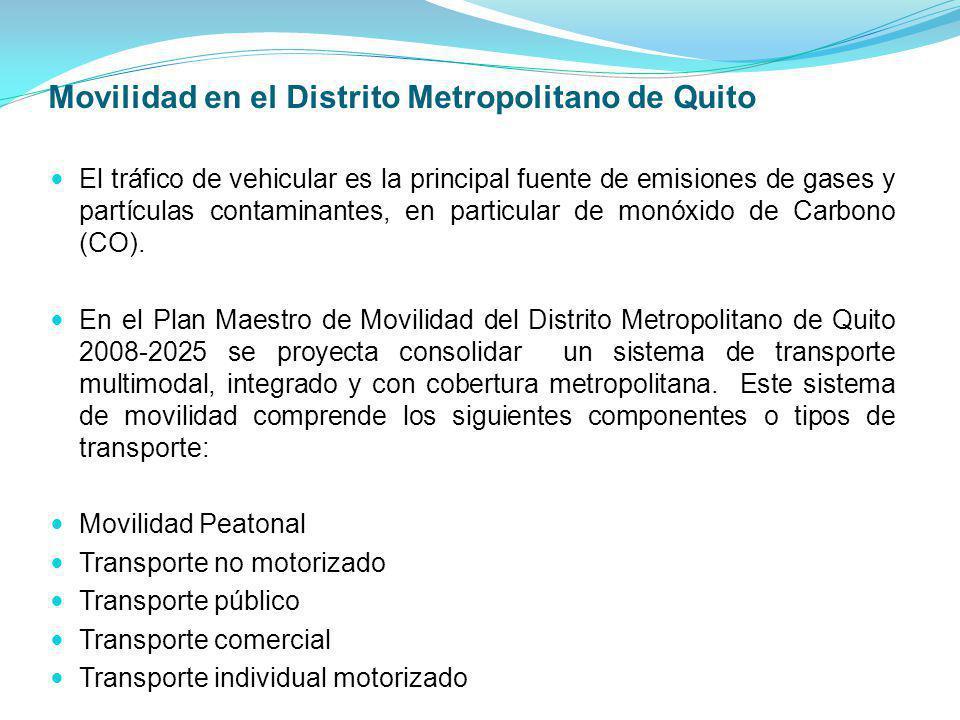Movilidad en el Distrito Metropolitano de Quito El tráfico de vehicular es la principal fuente de emisiones de gases y partículas contaminantes, en pa