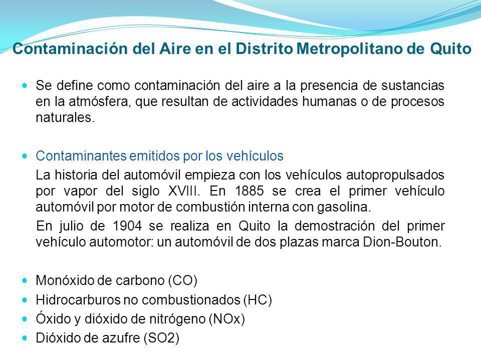 Contaminación del Aire en el Distrito Metropolitano de Quito Se define como contaminación del aire a la presencia de sustancias en la atmósfera, que r