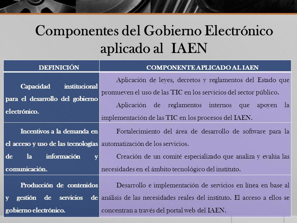Componentes del Gobierno Electrónico aplicado al IAEN DEFINICIÓNCOMPONENTE APLICADO AL IAEN Capacidad institucional para el desarrollo del gobierno el
