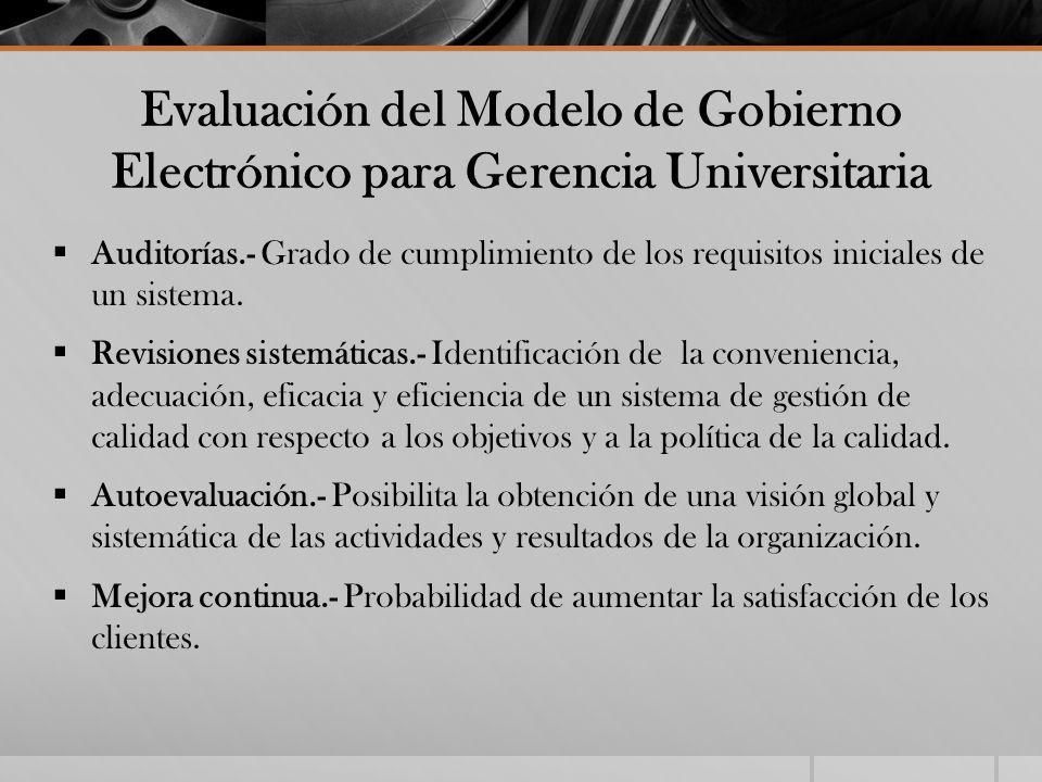 Evaluación del Modelo de Gobierno Electrónico para Gerencia Universitaria Auditorías.- Grado de cumplimiento de los requisitos iniciales de un sistema