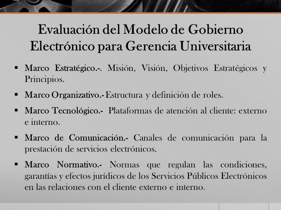 Evaluación del Modelo de Gobierno Electrónico para Gerencia Universitaria Marco Estratégico.-. Misión, Visión, Objetivos Estratégicos y Principios. Ma