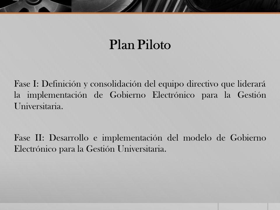 Plan Piloto Fase I: Definición y consolidación del equipo directivo que liderará la implementación de Gobierno Electrónico para la Gestión Universitar