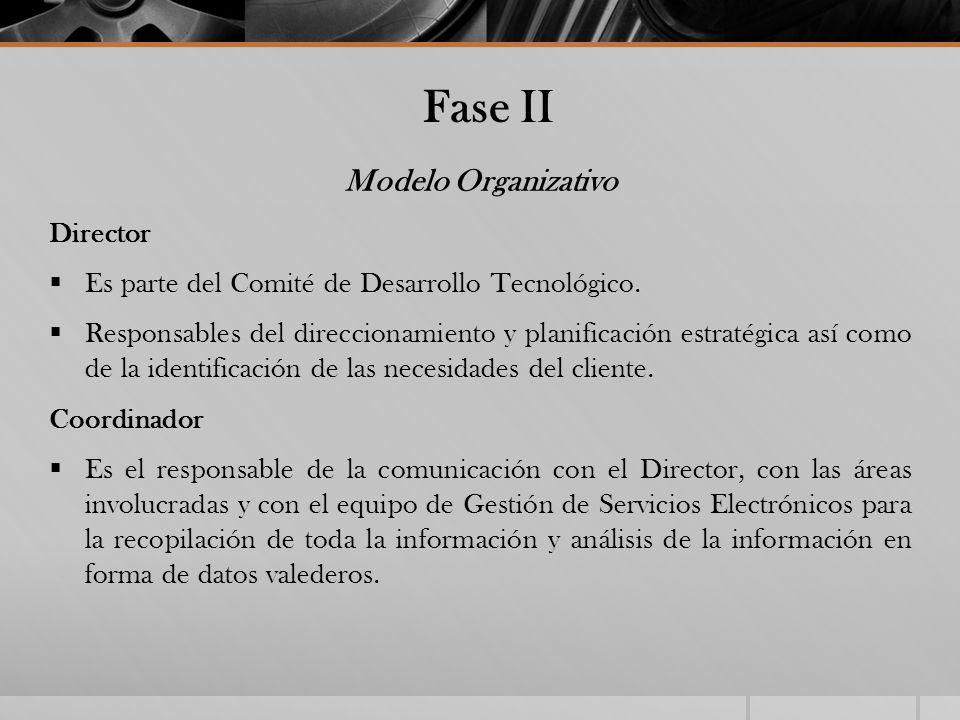 Fase II Modelo Organizativo Director Es parte del Comité de Desarrollo Tecnológico. Responsables del direccionamiento y planificación estratégica así