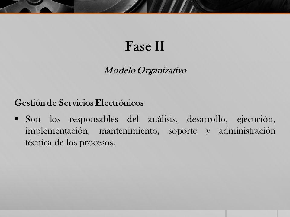 Fase II Modelo Organizativo Gestión de Servicios Electrónicos Son los responsables del análisis, desarrollo, ejecución, implementación, mantenimiento,