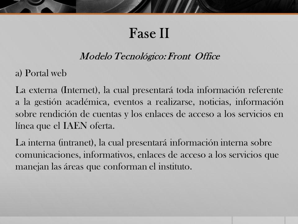 Fase II Modelo Tecnológico: Front Office a) Portal web La externa (Internet), la cual presentará toda información referente a la gestión académica, ev