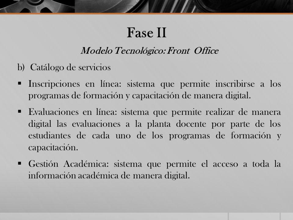 Fase II Modelo Tecnológico: Front Office b) Catálogo de servicios Inscripciones en línea: sistema que permite inscribirse a los programas de formación