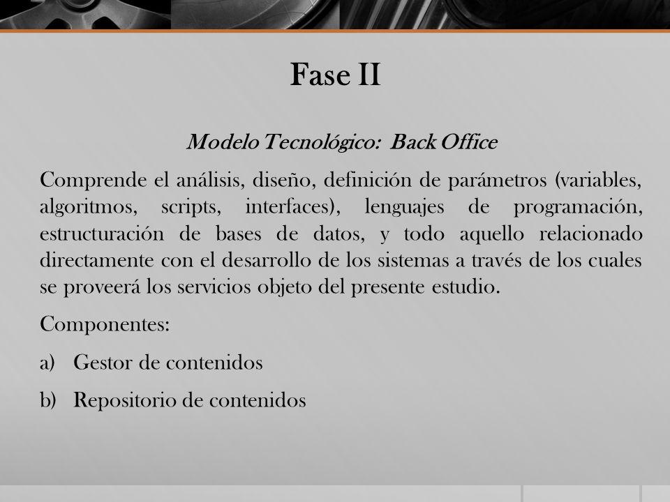 Fase II Modelo Tecnológico: Back Office Comprende el análisis, diseño, definición de parámetros (variables, algoritmos, scripts, interfaces), lenguaje