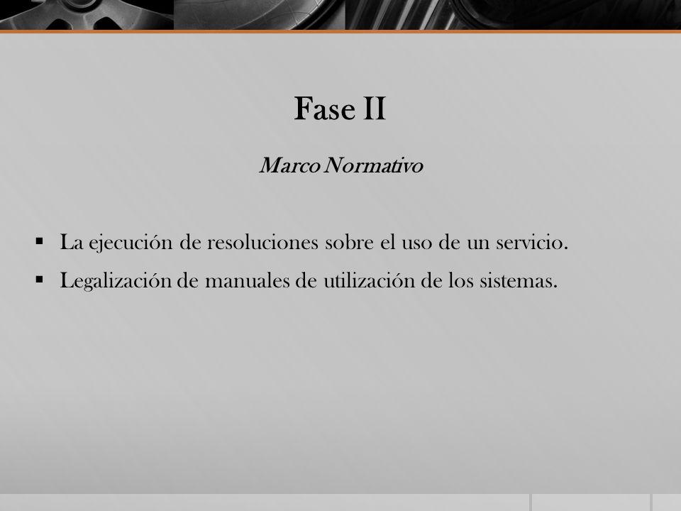 Fase II Marco Normativo La ejecución de resoluciones sobre el uso de un servicio. Legalización de manuales de utilización de los sistemas.