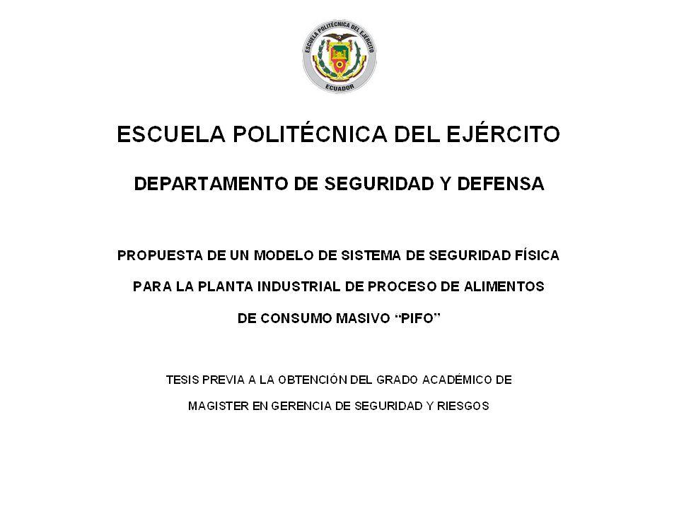 El presente trabajo determina los niveles de riesgo de seguridad existentes en la Planta de proceso de alimentos de consumo masivo Pifo.