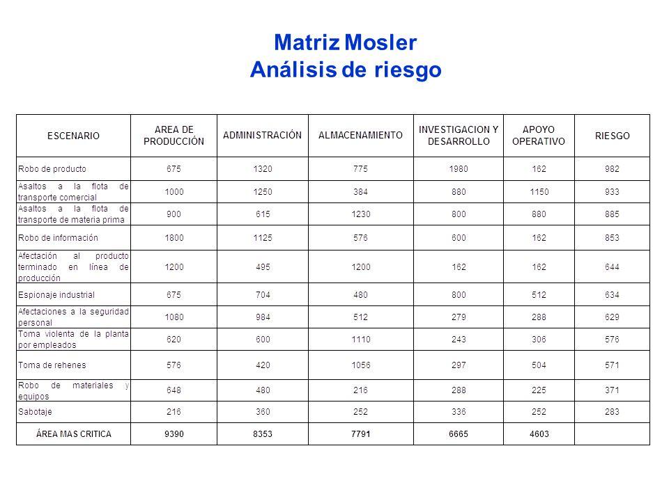 Matriz Mosler Análisis de riesgo