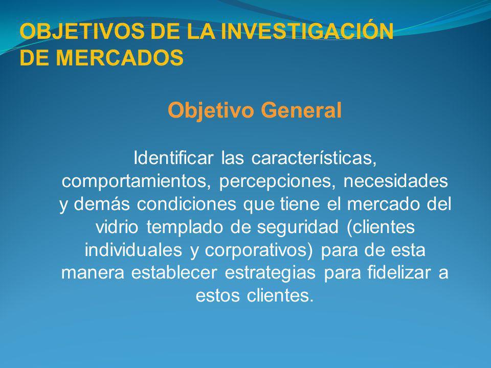 Objetivo General Identificar las características, comportamientos, percepciones, necesidades y demás condiciones que tiene el mercado del vidrio templ