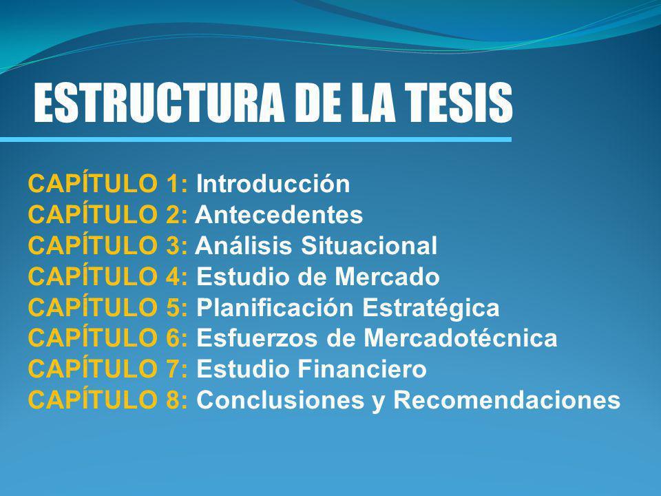ESTRUCTURA DE LA TESIS CAPÍTULO 1: Introducción CAPÍTULO 2: Antecedentes CAPÍTULO 3: Análisis Situacional CAPÍTULO 4: Estudio de Mercado CAPÍTULO 5: P