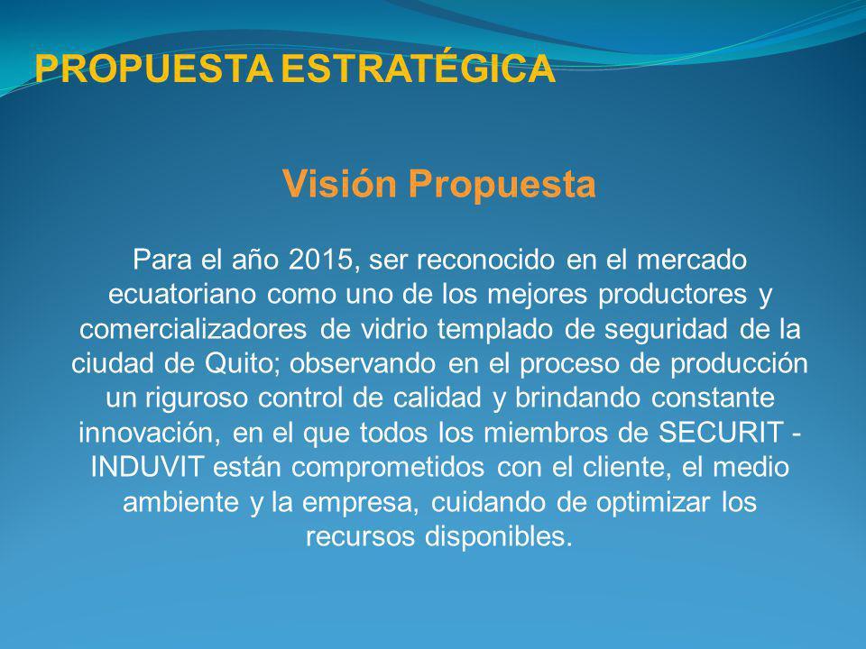 Visión Propuesta Para el año 2015, ser reconocido en el mercado ecuatoriano como uno de los mejores productores y comercializadores de vidrio templado