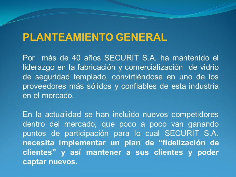 PLANTEAMIENTO GENERAL Por más de 40 años SECURIT S.A. ha mantenido el liderazgo en la fabricación y comercialización de vidrio de seguridad templado,