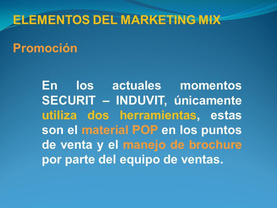En los actuales momentos SECURIT – INDUVIT, únicamente utiliza dos herramientas, estas son el material POP en los puntos de venta y el manejo de broch