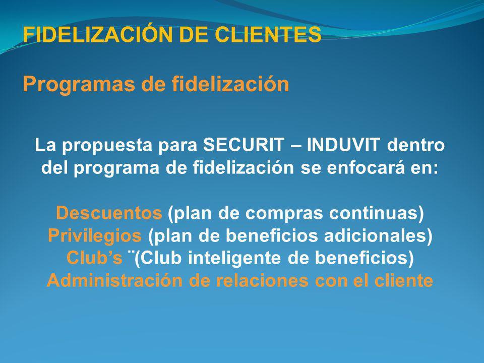 FIDELIZACIÓN DE CLIENTES Programas de fidelización La propuesta para SECURIT – INDUVIT dentro del programa de fidelización se enfocará en: Descuentos