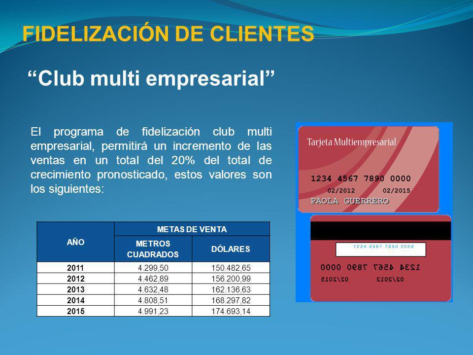 FIDELIZACIÓN DE CLIENTES Club multi empresarial El programa de fidelización club multi empresarial, permitirá un incremento de las ventas en un total