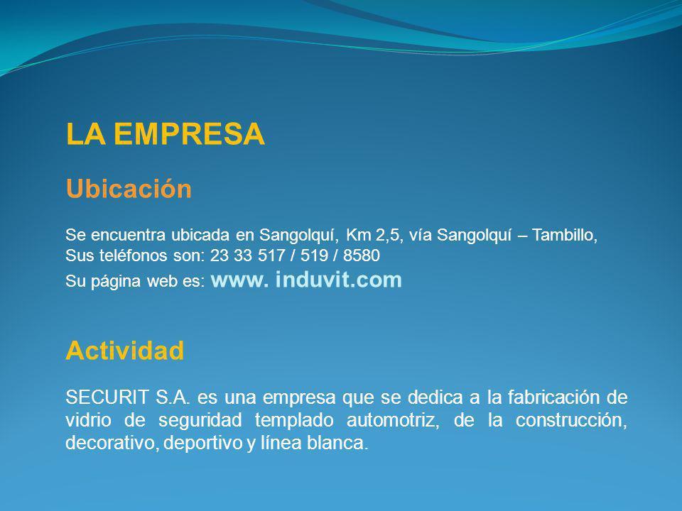 LA EMPRESA Ubicación Se encuentra ubicada en Sangolquí, Km 2,5, vía Sangolquí – Tambillo, Sus teléfonos son: 23 33 517 / 519 / 8580 Su página web es: