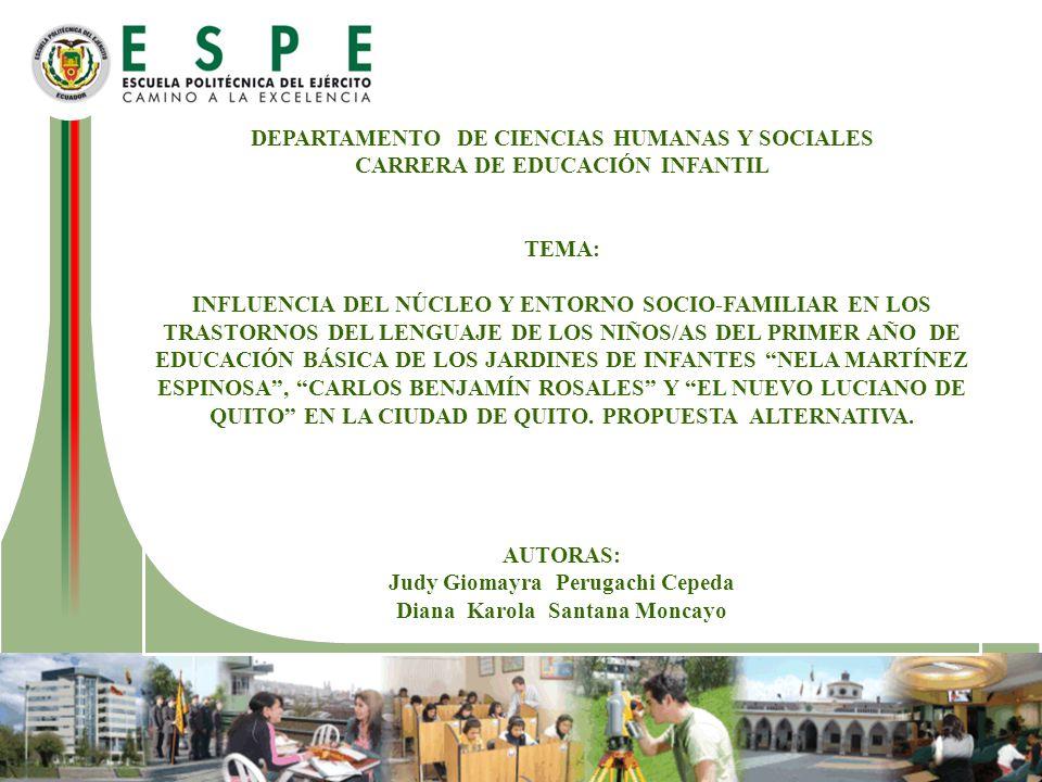 DEPARTAMENTO DE CIENCIAS HUMANAS Y SOCIALES CARRERA DE EDUCACIÓN INFANTIL TEMA: INFLUENCIA DEL NÚCLEO Y ENTORNO SOCIO-FAMILIAR EN LOS TRASTORNOS DEL L