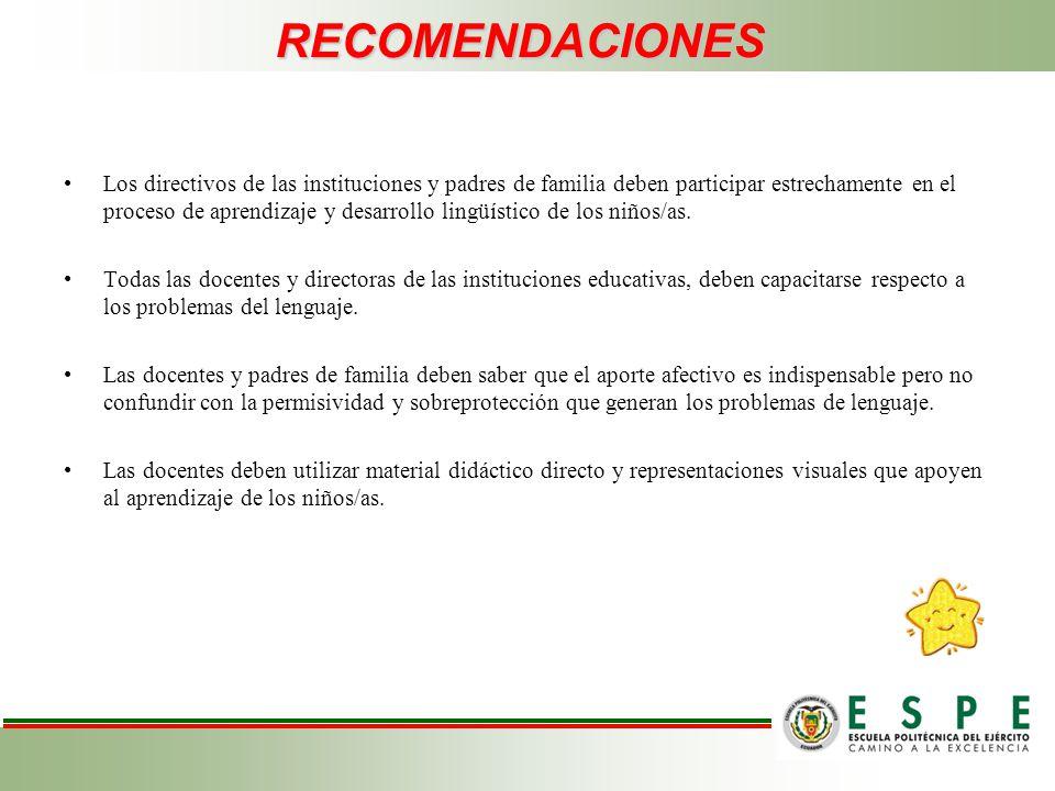 RECOMENDACIONES Los directivos de las instituciones y padres de familia deben participar estrechamente en el proceso de aprendizaje y desarrollo lingü