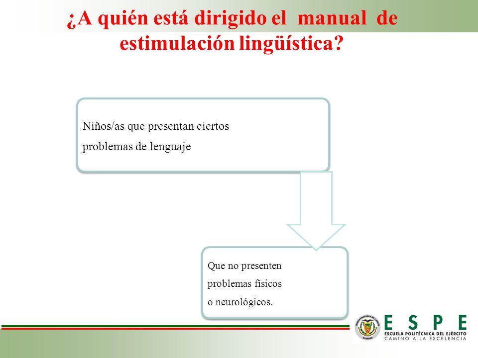 ¿A quién está dirigido el manual de estimulación lingüística? Niños/as que presentan ciertos problemas de lenguaje Que no presenten problemas físicos
