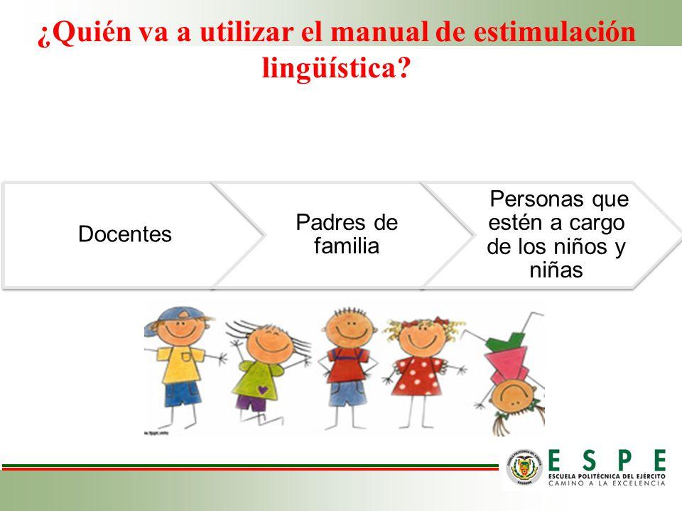 ¿Quién va a utilizar el manual de estimulación lingüística? Docentes Padres de familia Personas que estén a cargo de los niños y niñas