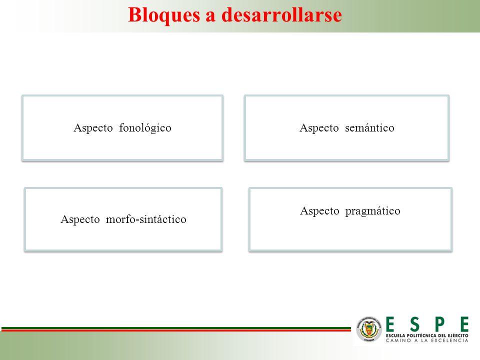 Bloques a desarrollarse Aspecto fonológico Aspecto semántico Aspecto morfo-sintáctico Aspecto pragmático