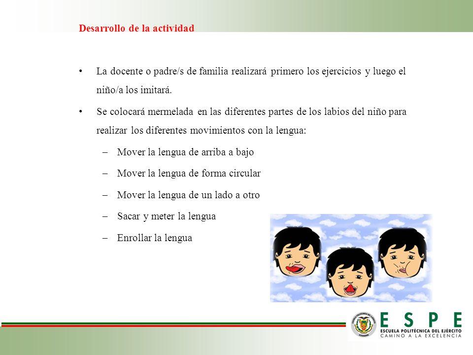 Desarrollo de la actividad La docente o padre/s de familia realizará primero los ejercicios y luego el niño/a los imitará. Se colocará mermelada en la