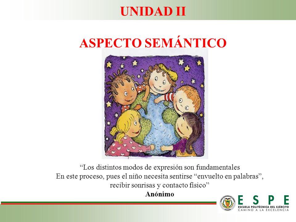 UNIDAD II ASPECTO SEMÁNTICO Los distintos modos de expresión son fundamentales En este proceso, pues el niño necesita sentirse envuelto en palabras, r