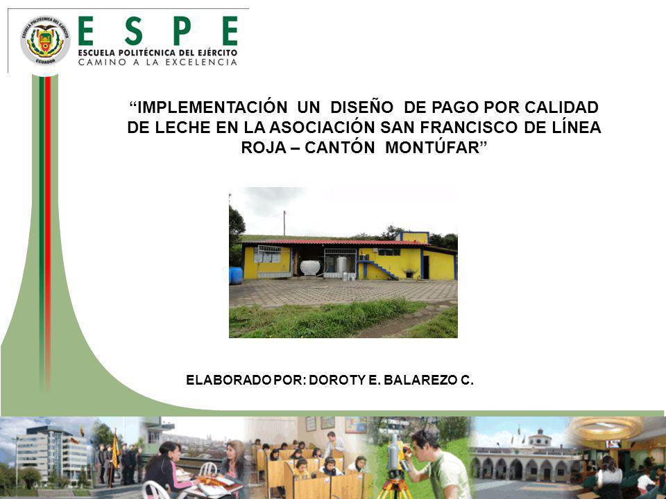 IMPLEMENTACIÓN UN DISEÑO DE PAGO POR CALIDAD DE LECHE EN LA ASOCIACIÓN SAN FRANCISCO DE LÍNEA ROJA – CANTÓN MONTÚFAR ELABORADO POR: DOROTY E.