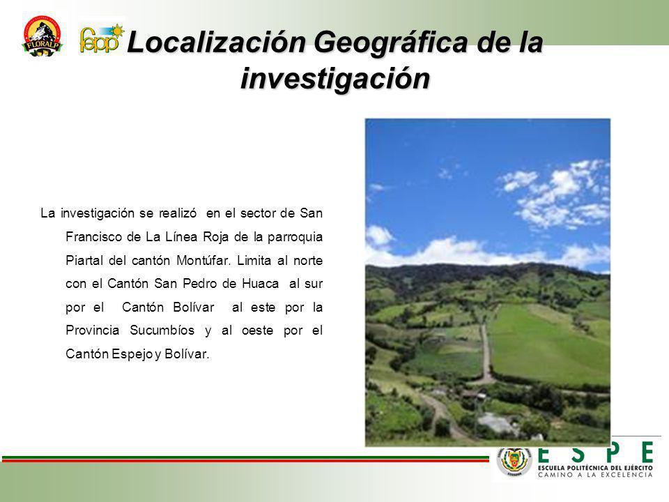 Localización Geográfica de la investigación La investigación se realizó en el sector de San Francisco de La Línea Roja de la parroquia Piartal del cantón Montúfar.