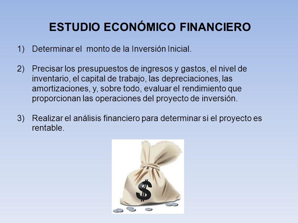 ESTUDIO ECONÓMICO FINANCIERO 1)Determinar el monto de la Inversión Inicial.