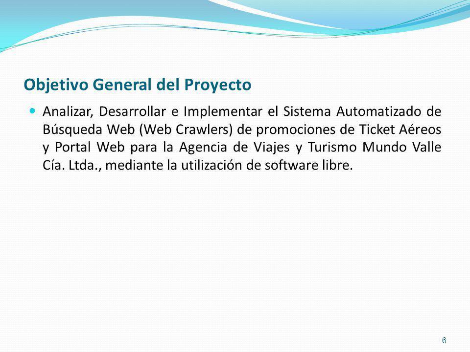 Objetivo General del Proyecto Analizar, Desarrollar e Implementar el Sistema Automatizado de Búsqueda Web (Web Crawlers) de promociones de Ticket Aéreos y Portal Web para la Agencia de Viajes y Turismo Mundo Valle Cía.