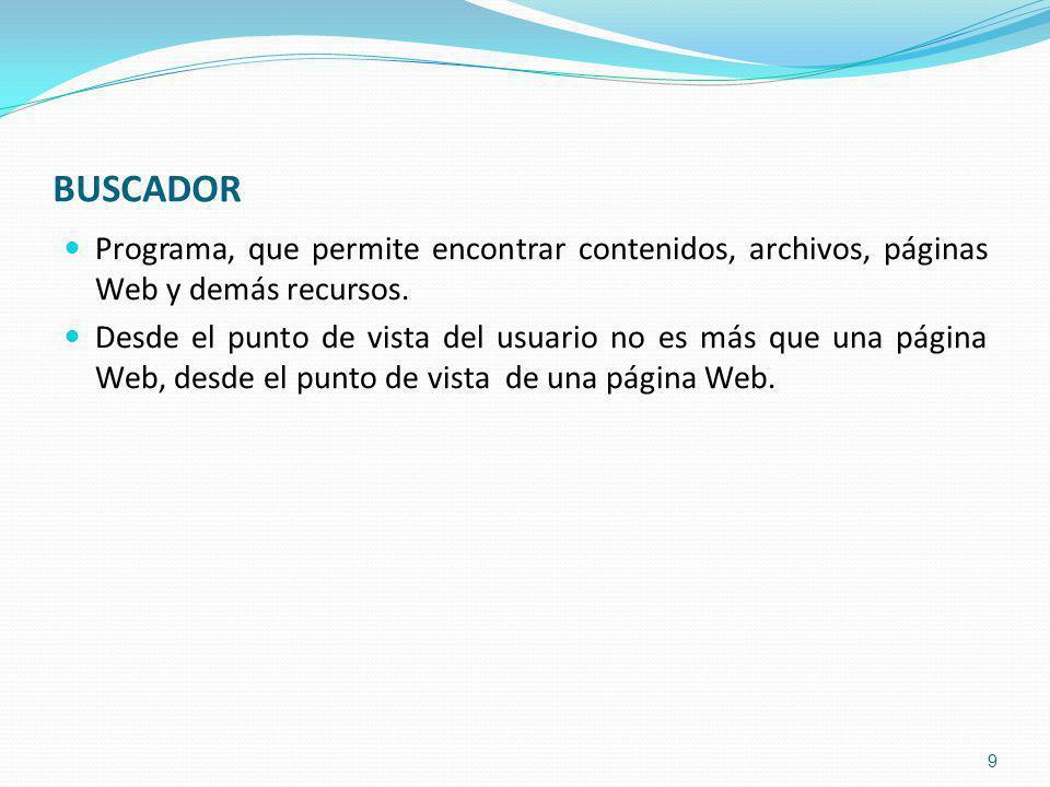Programa, que permite encontrar contenidos, archivos, páginas Web y demás recursos.