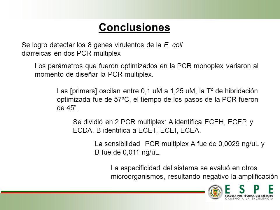 Conclusiones Se logro detectar los 8 genes virulentos de la E.