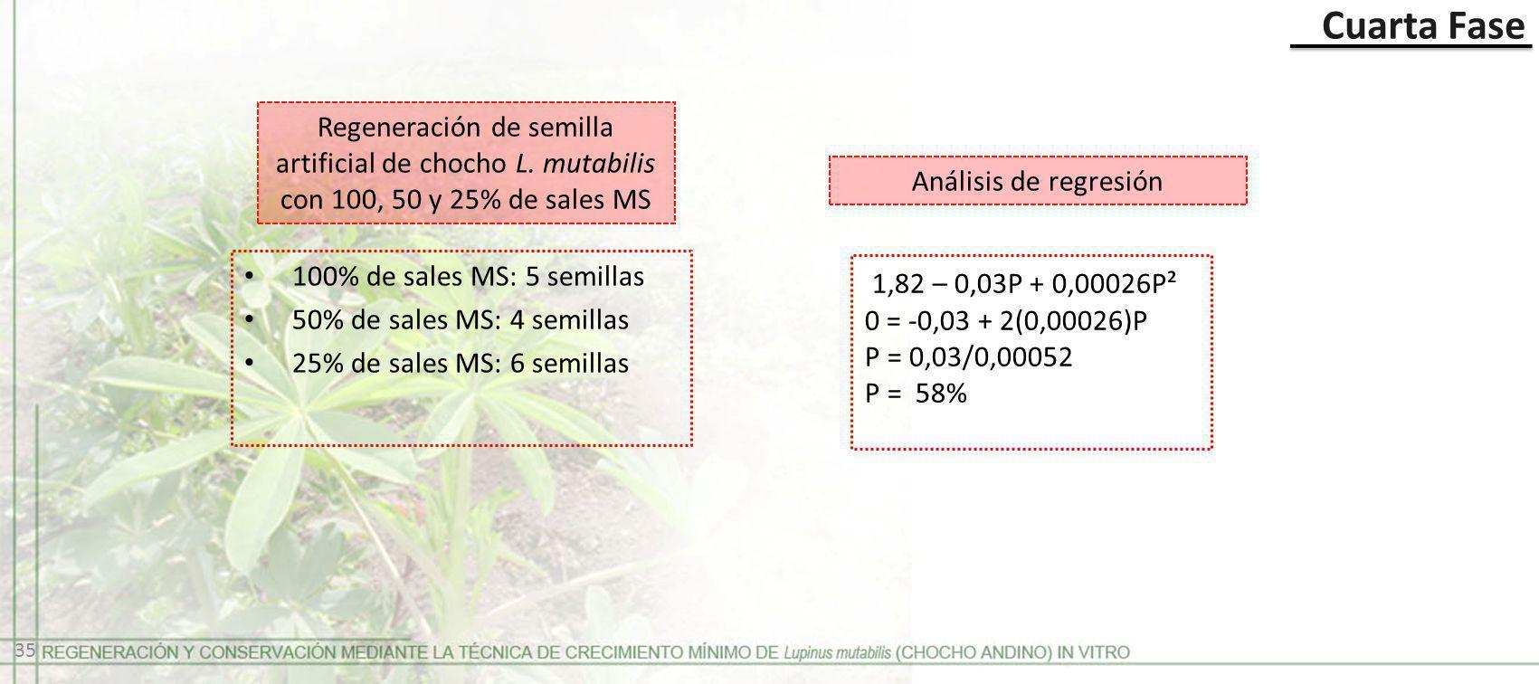 Cuarta Fase Regeneración de semilla artificial de chocho L. mutabilis con 100, 50 y 25% de sales MS Análisis de regresión 100% de sales MS: 5 semillas