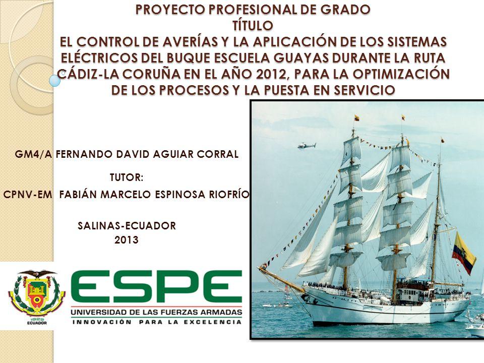 PROYECTO PROFESIONAL DE GRADO TÍTULO EL CONTROL DE AVERÍAS Y LA APLICACIÓN DE LOS SISTEMAS ELÉCTRICOS DEL BUQUE ESCUELA GUAYAS DURANTE LA RUTA CÁDIZ-LA CORUÑA EN EL AÑO 2012, PARA LA OPTIMIZACIÓN DE LOS PROCESOS Y LA PUESTA EN SERVICIO GM4/A FERNANDO DAVID AGUIAR CORRAL TUTOR: CPNV-EM FABIÁN MARCELO ESPINOSA RIOFRÍO SALINAS-ECUADOR 2013