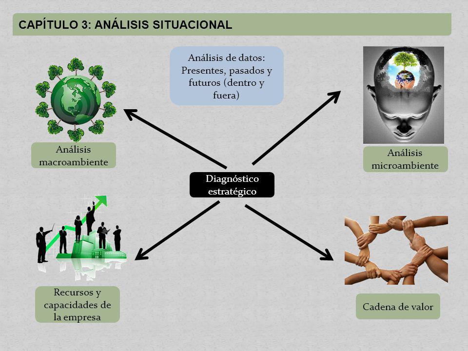 CAPÍTULO 3: ANÁLISIS SITUACIONAL Análisis macroambiente Análisis microambiente Recursos y capacidades de la empresa Cadena de valor Diagnóstico estratégico Análisis de datos: Presentes, pasados y futuros (dentro y fuera)