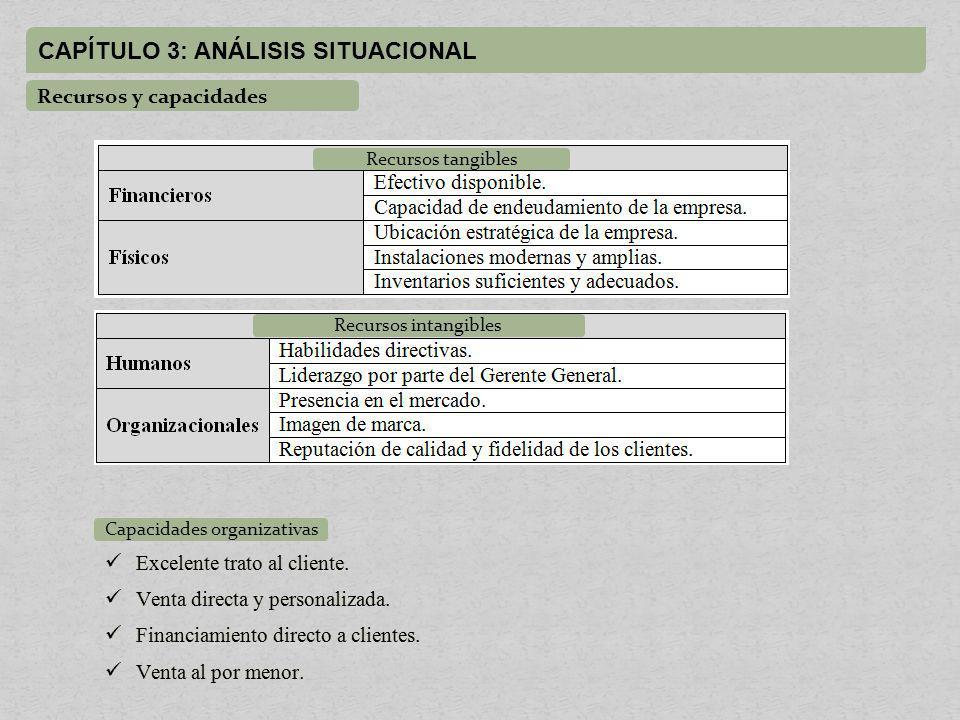 CAPÍTULO 3: ANÁLISIS SITUACIONAL Recursos y capacidades Recursos tangibles Recursos intangibles Capacidades organizativas