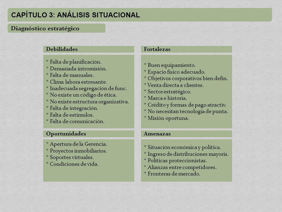 CAPÍTULO 3: ANÁLISIS SITUACIONAL Diagnóstico estratégico Debilidades * Falta de planificación.
