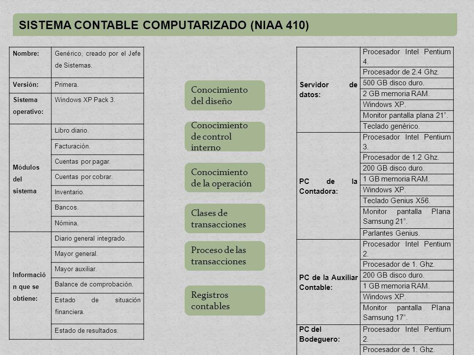 SISTEMA CONTABLE COMPUTARIZADO (NIAA 410) Nombre: Genérico, creado por el Jefe de Sistemas.