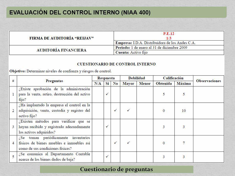 EVALUACIÓN DEL CONTROL INTERNO (NIAA 400) Cuestionario de preguntas